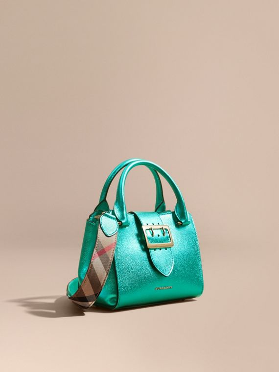 The Small Buckle Tote in Metallic Leather Emerald