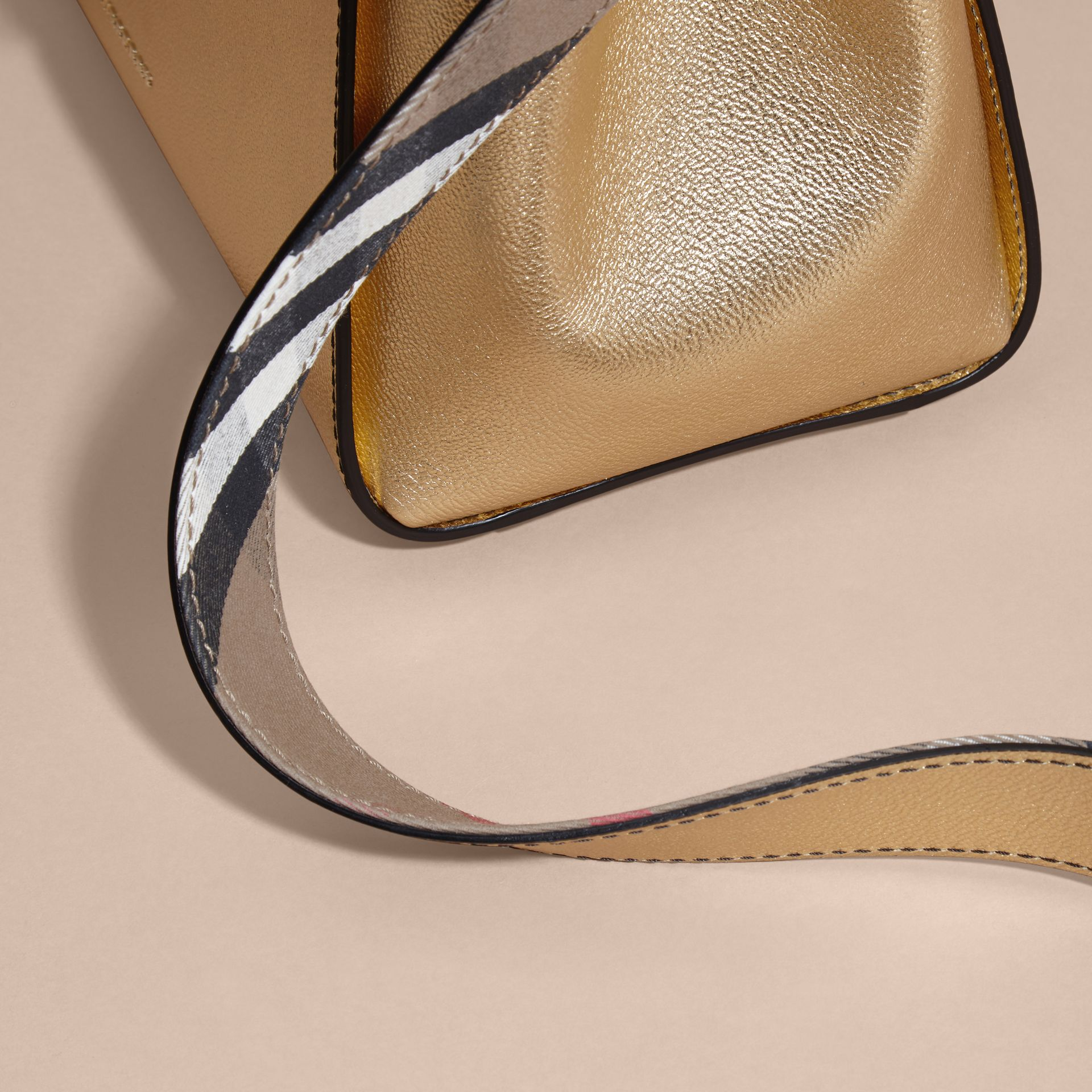 The Medium Buckle Tote in Metallic Leather - Women | Burberry - gallery image 7