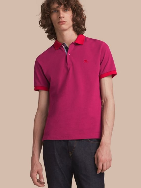 Two-tone Check Placket Cotton Piqué Polo Shirt Raspberry Sorbet