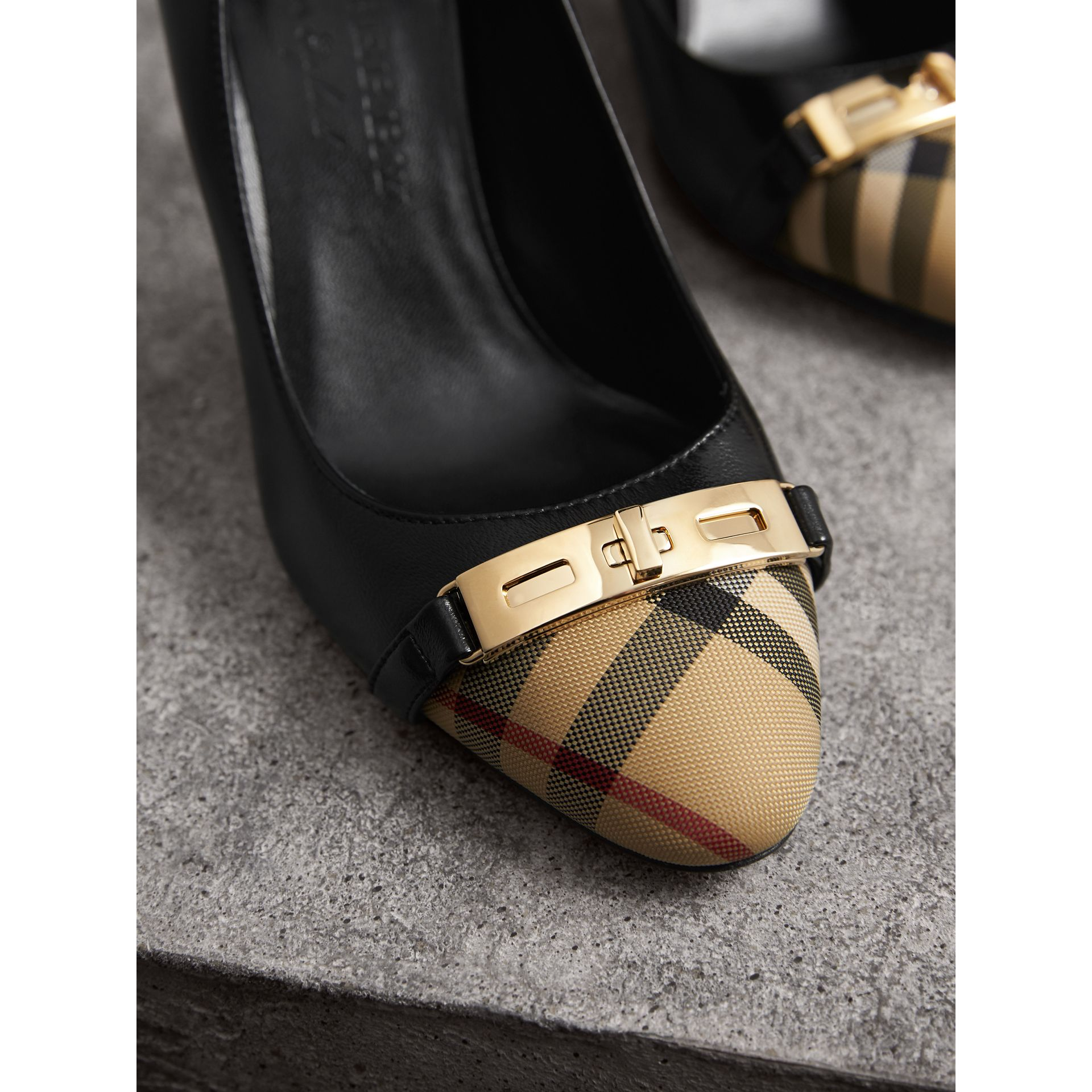 Horseferry Check Leather Pumps in Black - Women | Burberry - gallery image 2