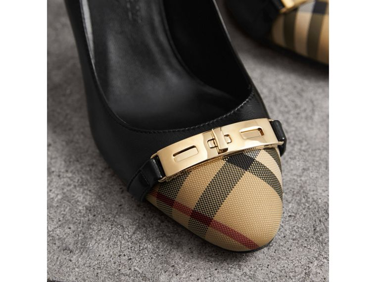 Horseferry Check Leather Pumps in Black - Women | Burberry United States - cell image 1