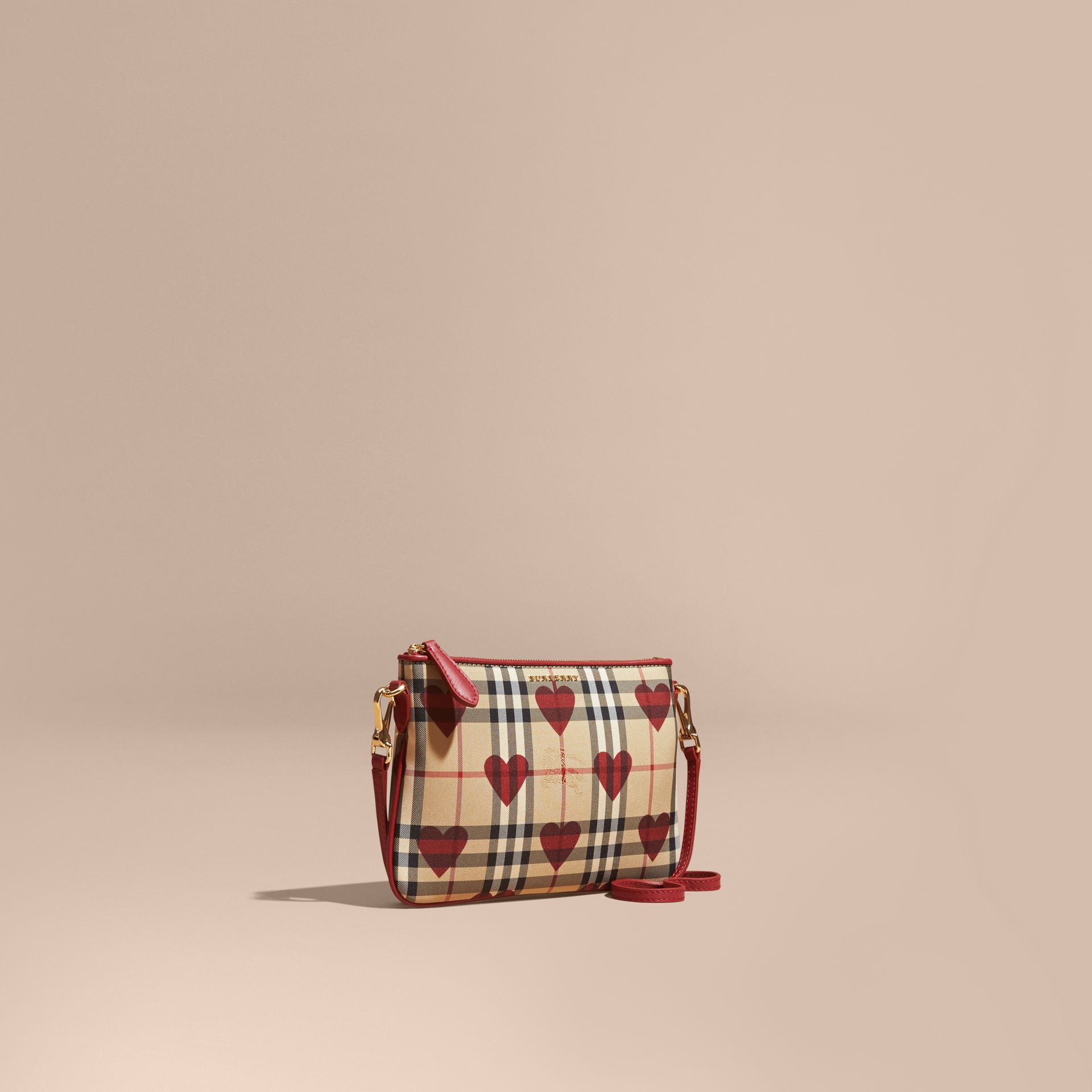 Parade red Heart Print Check and Leather Clutch Bag Parade Red - gallery image 1