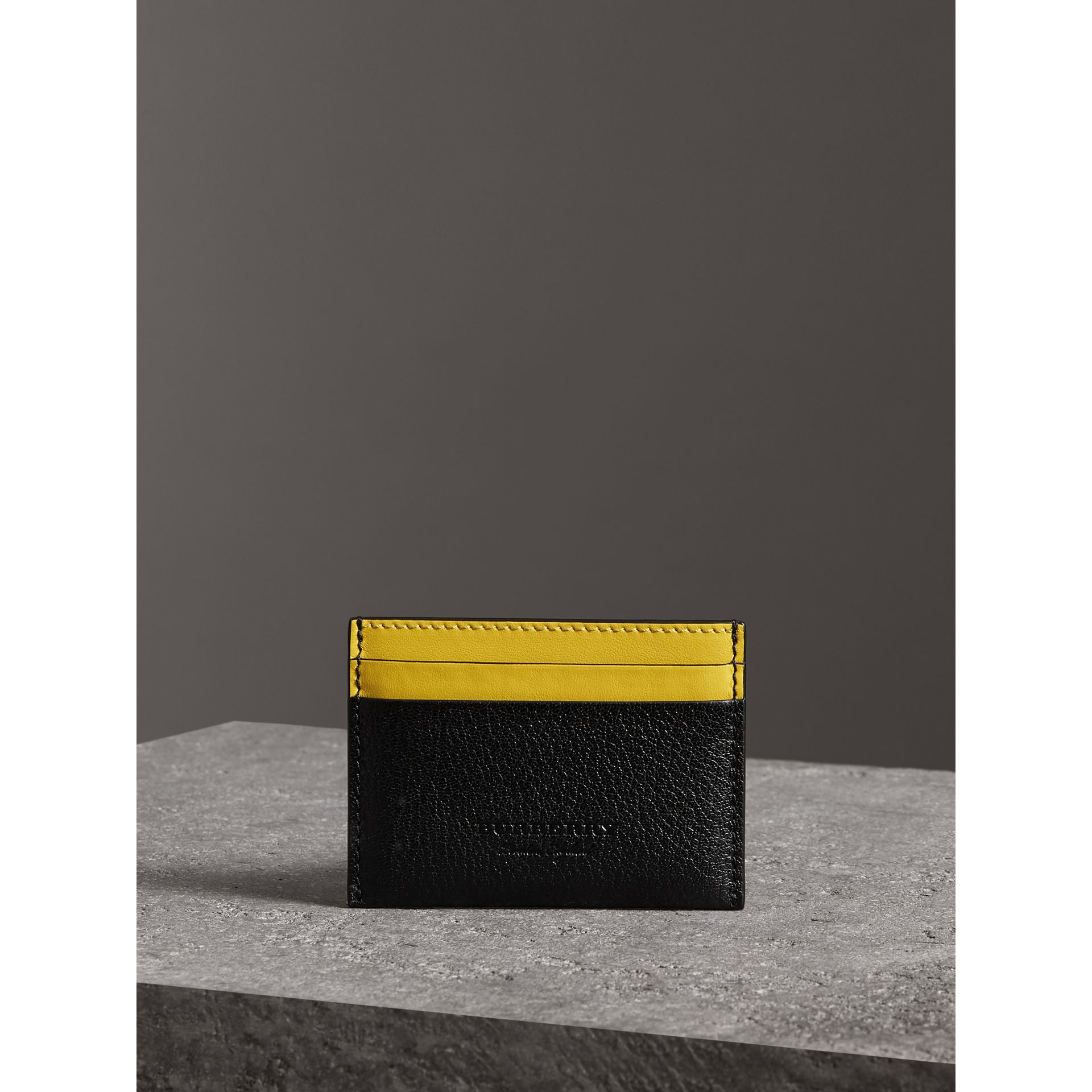 Two-tone Leather Card Case in Black | Burberry - gallery image 3