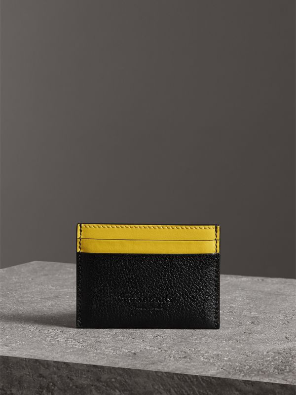 Two-tone Leather Card Case in Black | Burberry - cell image 3