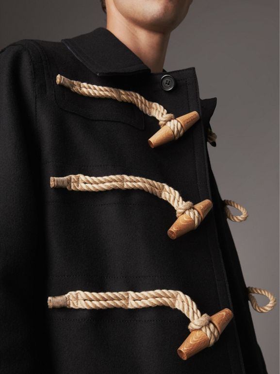 Wool Blend Duffle Jacket in Black - Men | Burberry - cell image 1