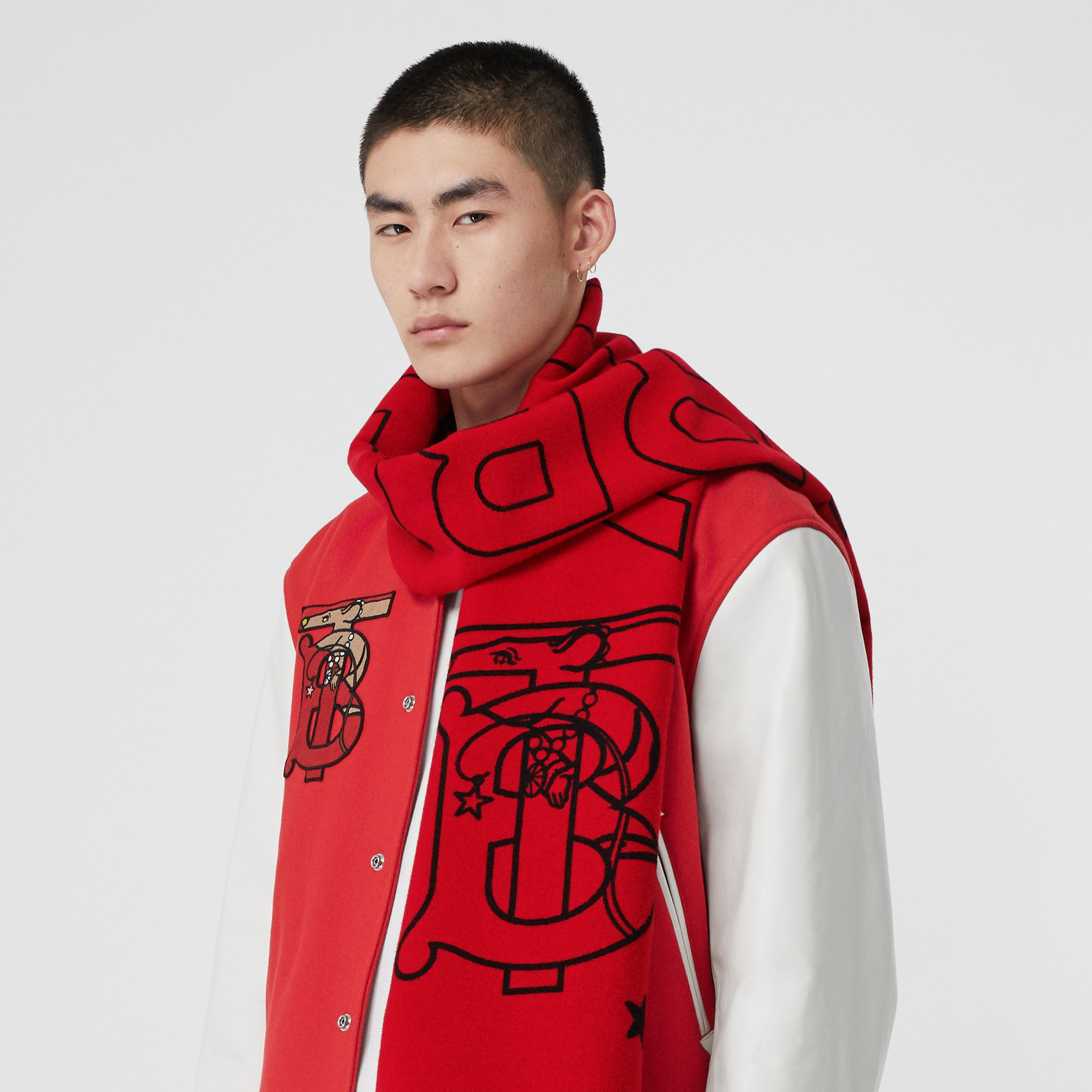 Logo and Monogram Motif Wool Silk Jacquard Scarf in Bright Red | Burberry - 4