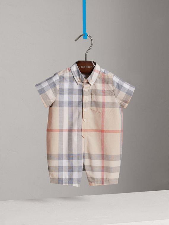Check Cotton Playsuit in Classic | Burberry - cell image 2