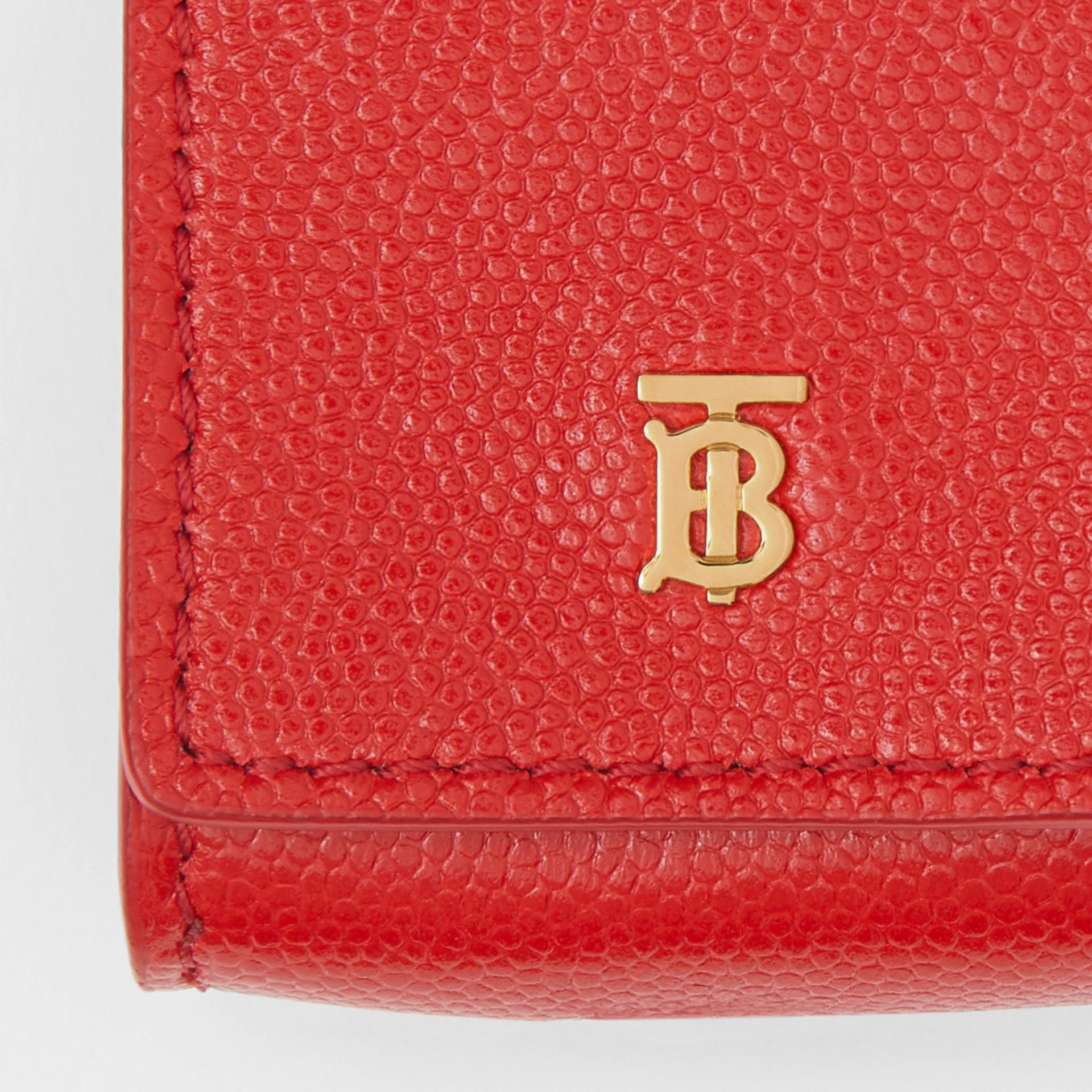 Grainy Leather Earphone Case in Bright Red | Burberry - gallery image 1
