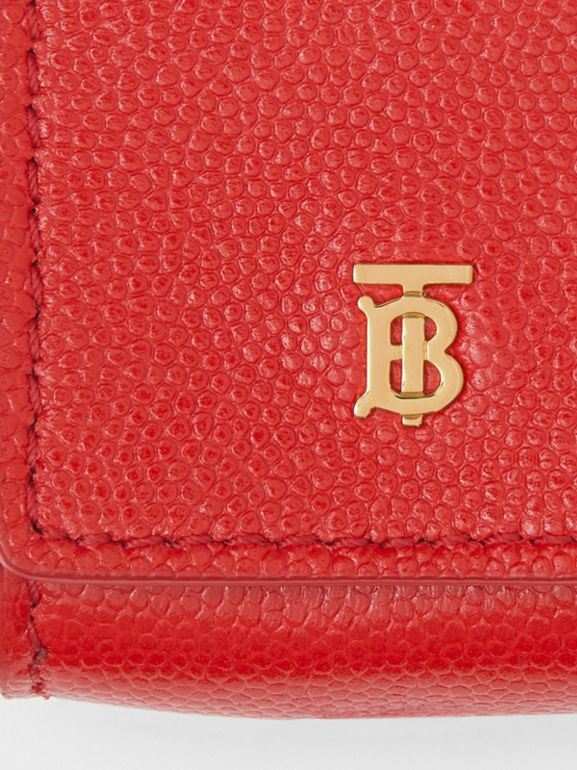 Grainy Leather Earphone Case in Bright Red | Burberry Singapore - cell image 1