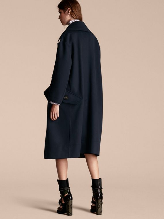 Navy Cappotto oversize dal taglio lungo in lana - cell image 2