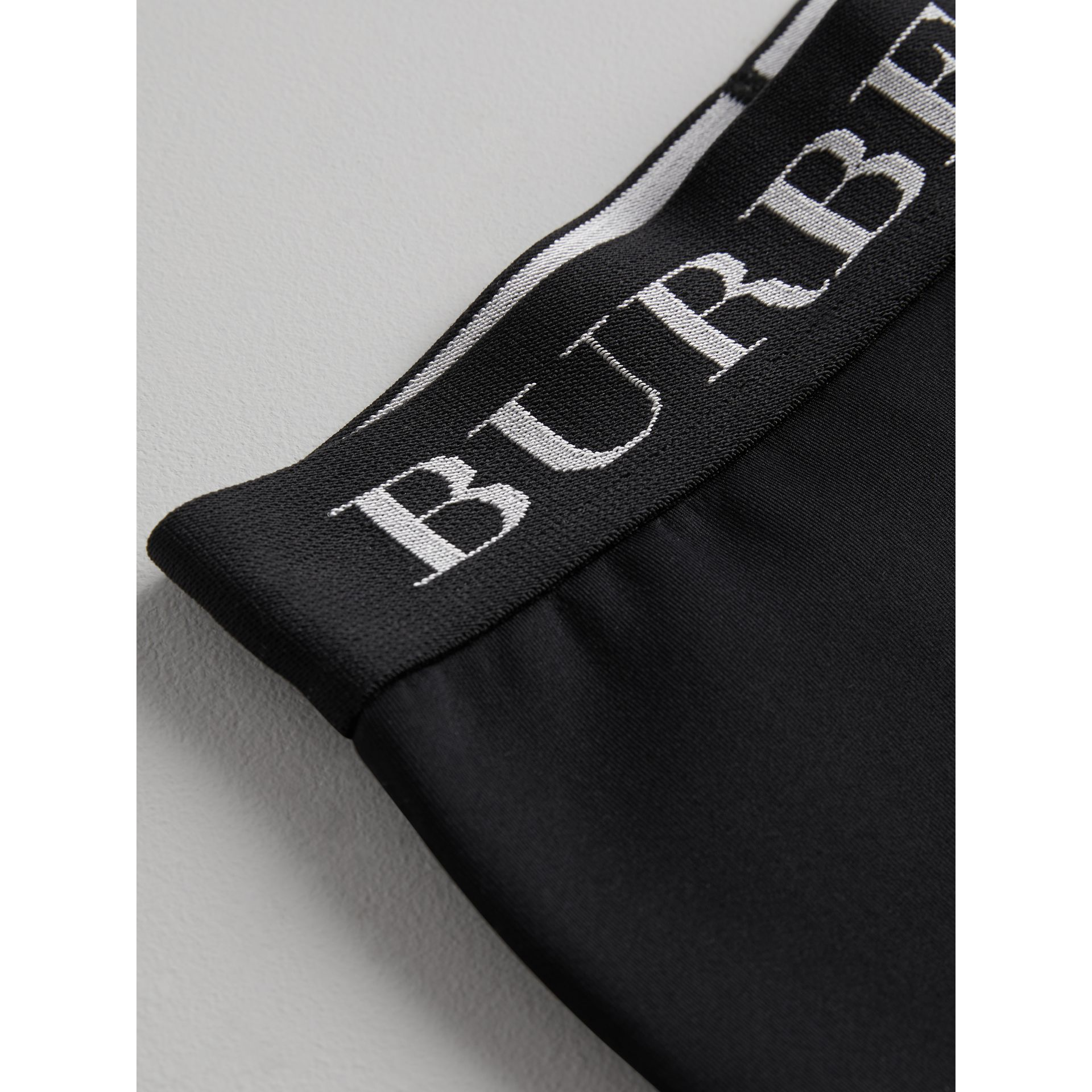 Logo Stretch Jersey Leggings in Black | Burberry United Kingdom - gallery image 1