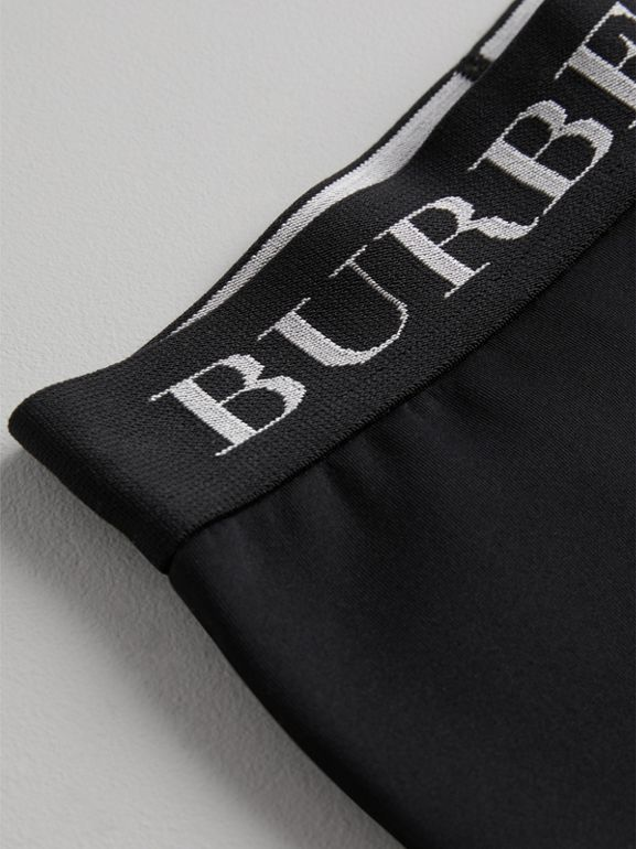 Logo Stretch Jersey Leggings in Black | Burberry - cell image 1