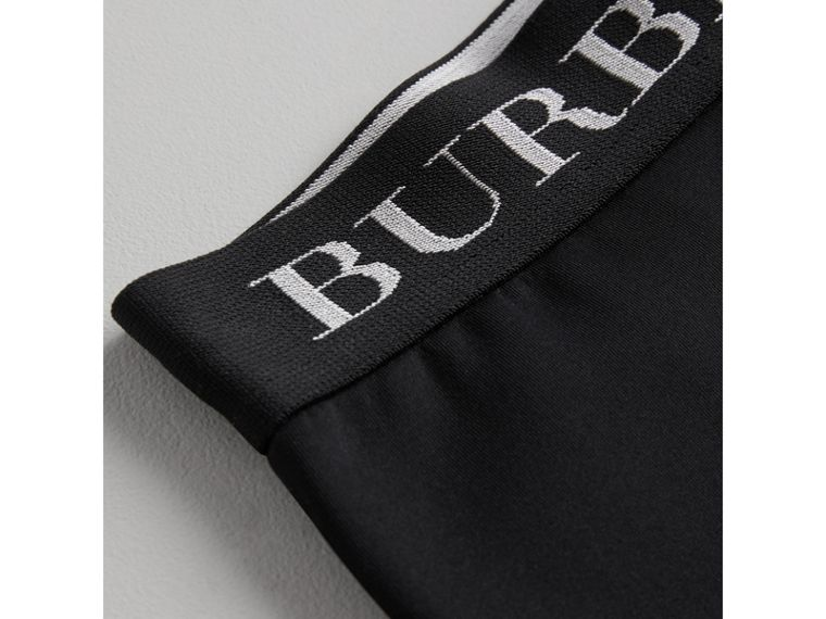 Logo Stretch Jersey Leggings in Black - Girl | Burberry - cell image 1