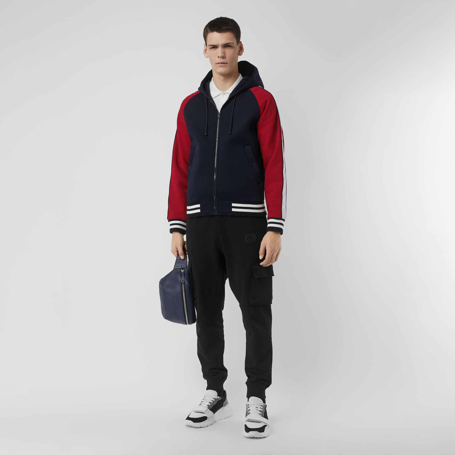 Contrast Crest Neoprene Hooded Top in Navy - Men | Burberry - gallery image 0