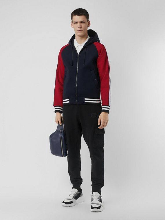 Contrast Crest Neoprene Hooded Top in Navy