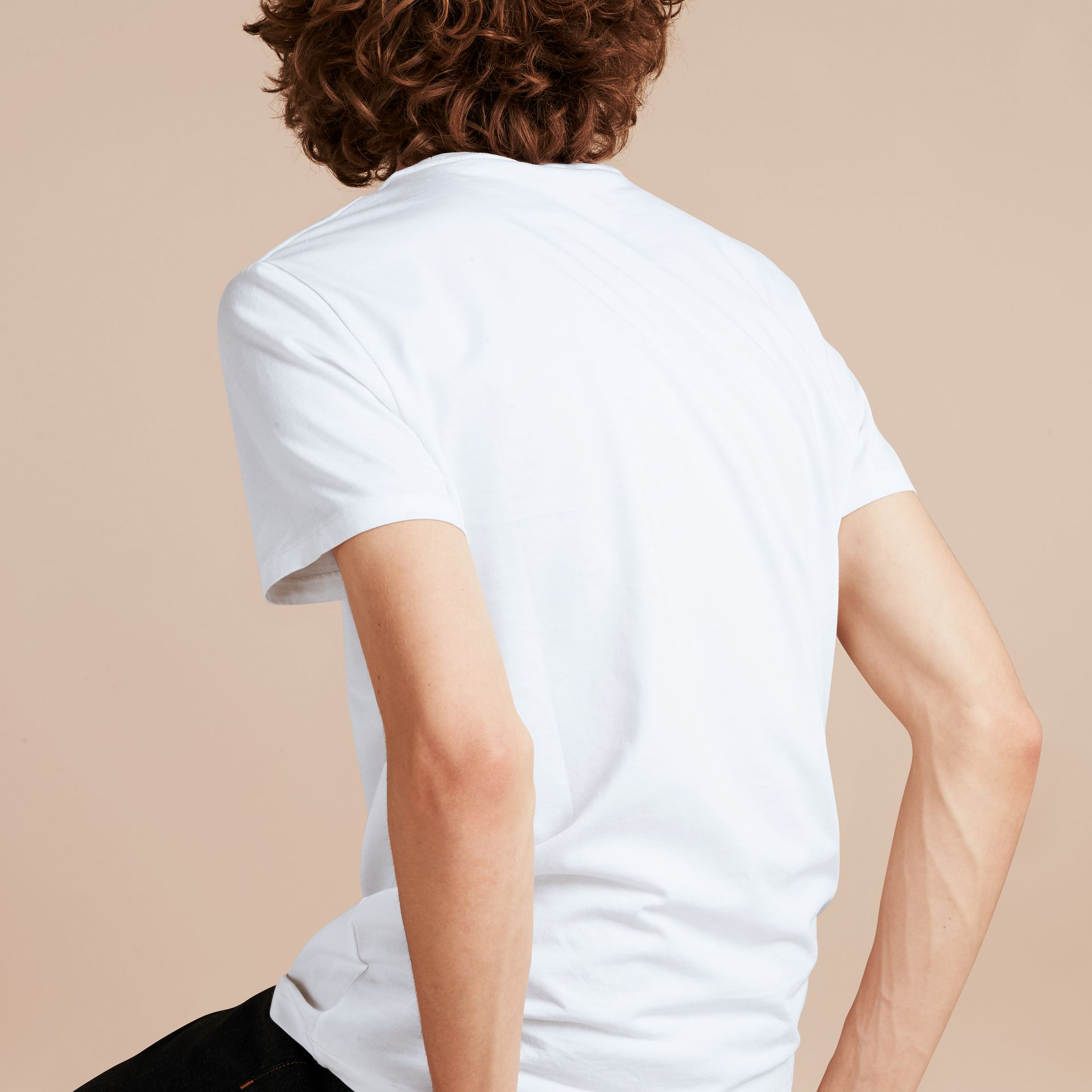 Cotton Jersey T-shirt in Optic White - Men | Burberry - gallery image 3