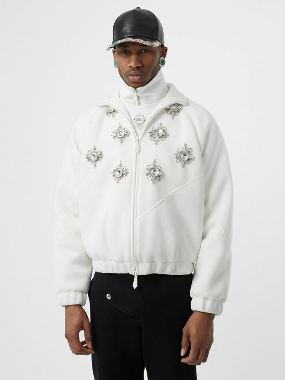 Bottle Cap Detail Jersey Track Jacket in White