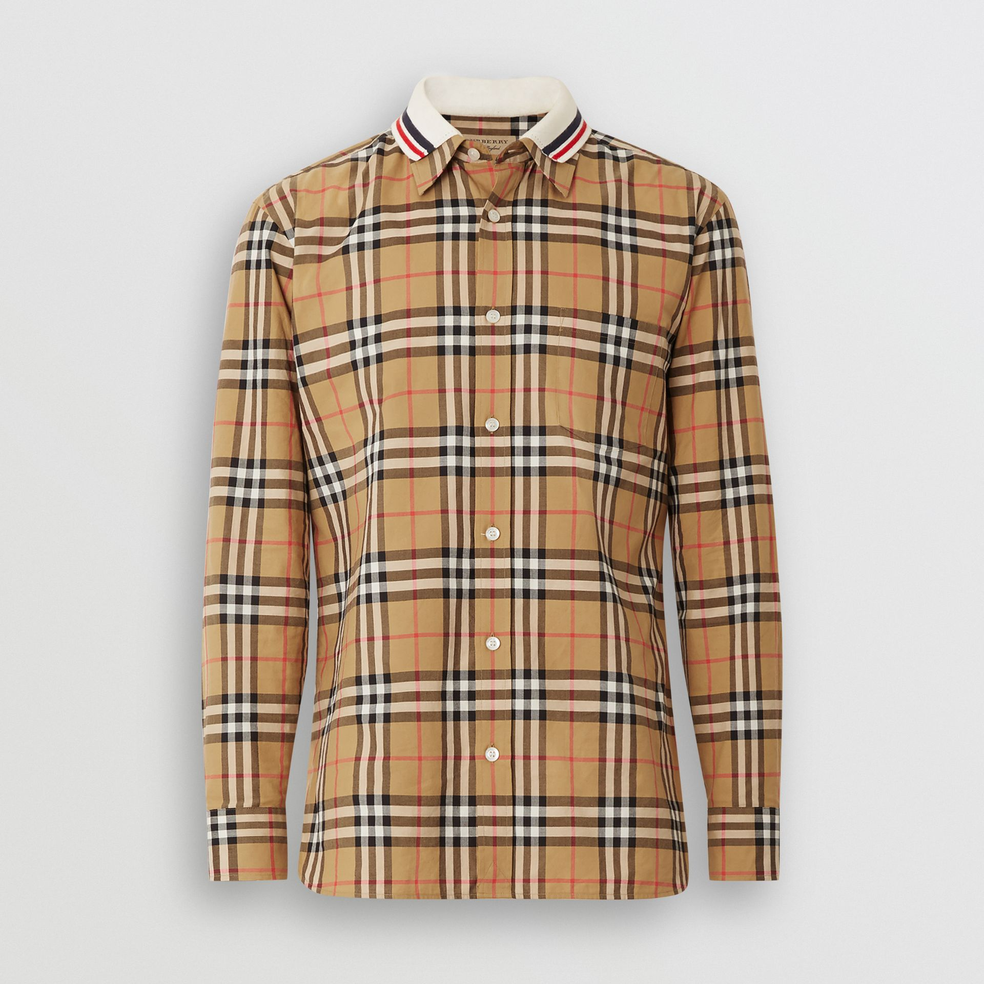 Knit Collar Vintage Check Cotton Shirt in Antique Yellow - Men | Burberry - gallery image 3