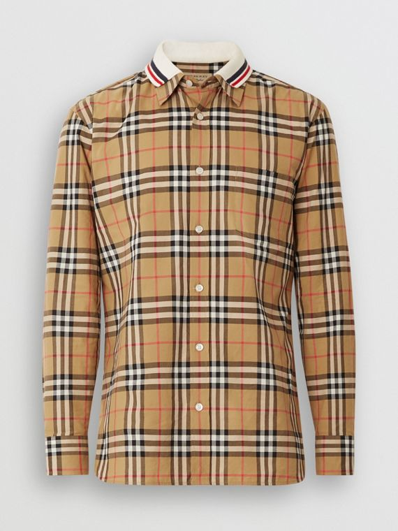 Knit Collar Vintage Check Cotton Shirt in Antique Yellow