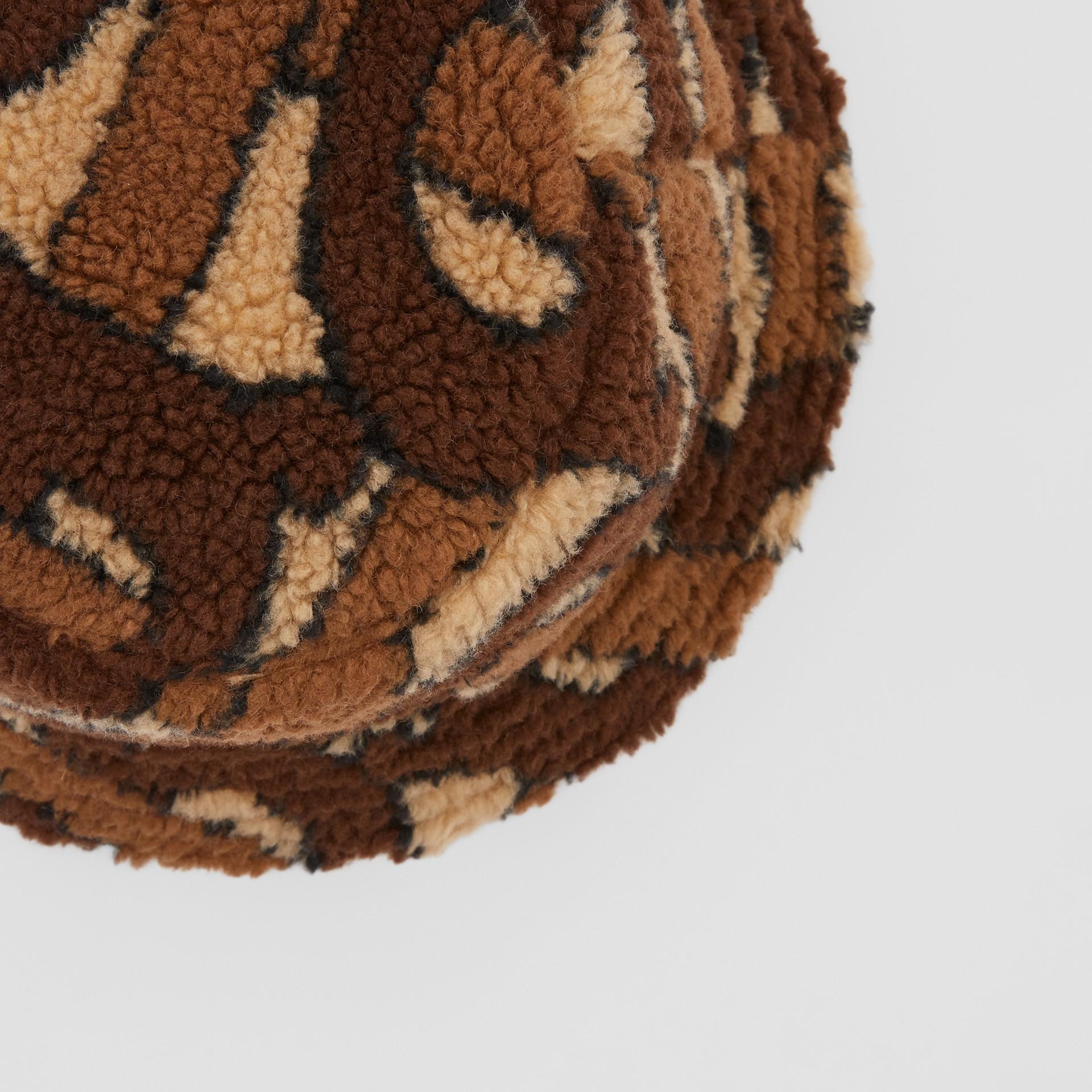 Monogram Fleece Bucket Hat in Bridle Brown | Burberry Canada - gallery image 1