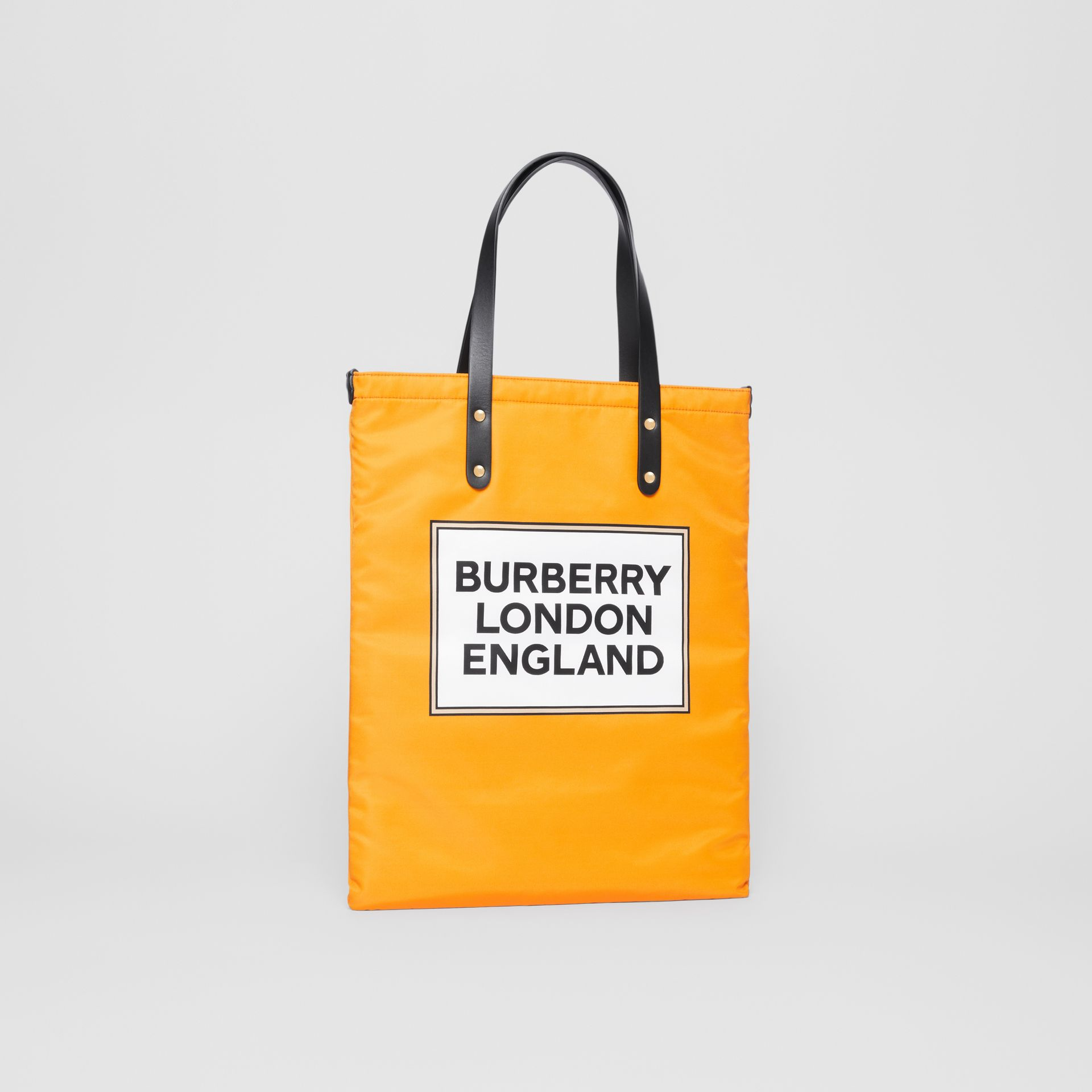 Logo Print Nylon Tote Bag in Orange | Burberry - gallery image 4