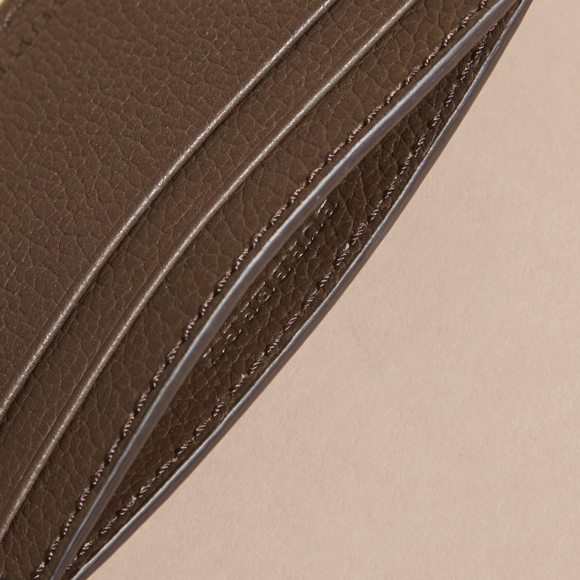 Deep taupe brown Grainy London Leather Card Case Deep Taupe Brown - gallery image 5