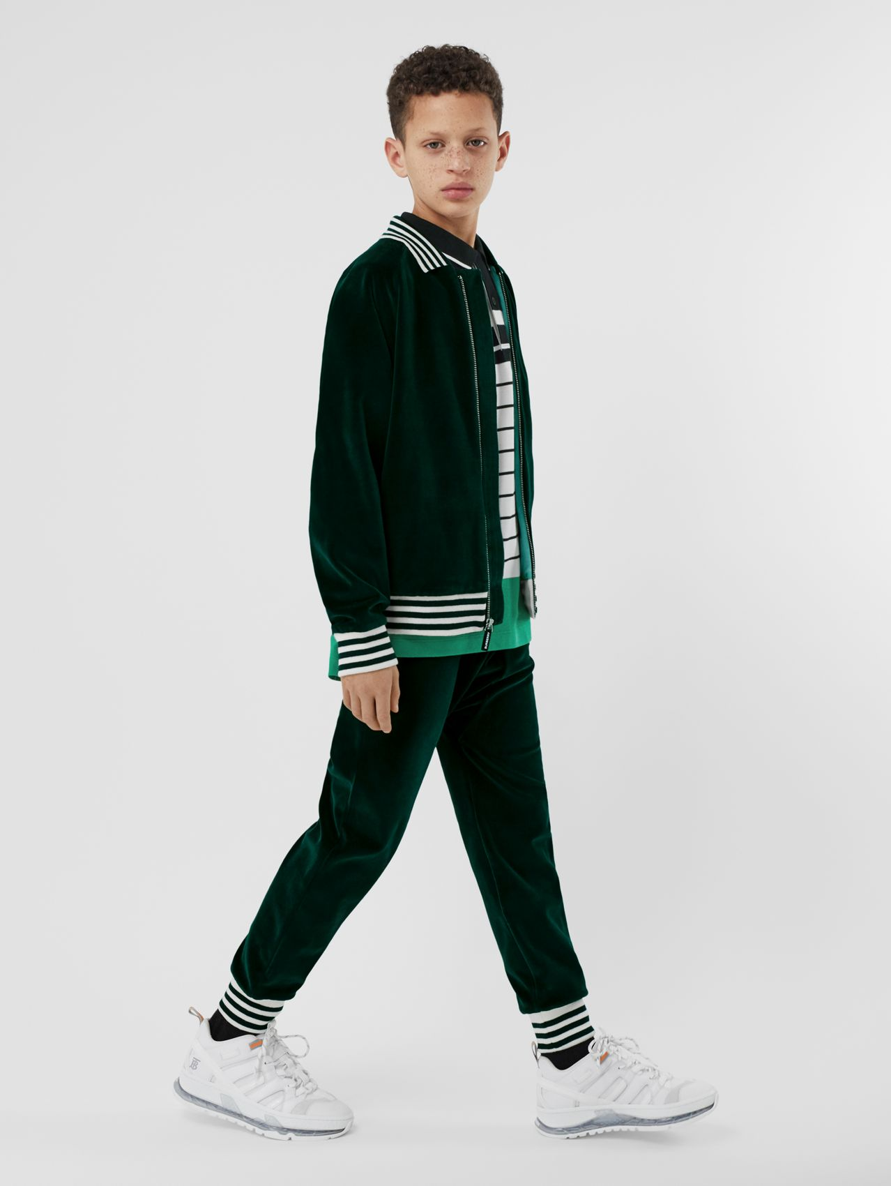 Stripe Trim Velour Trackpants in Dark Pine Green