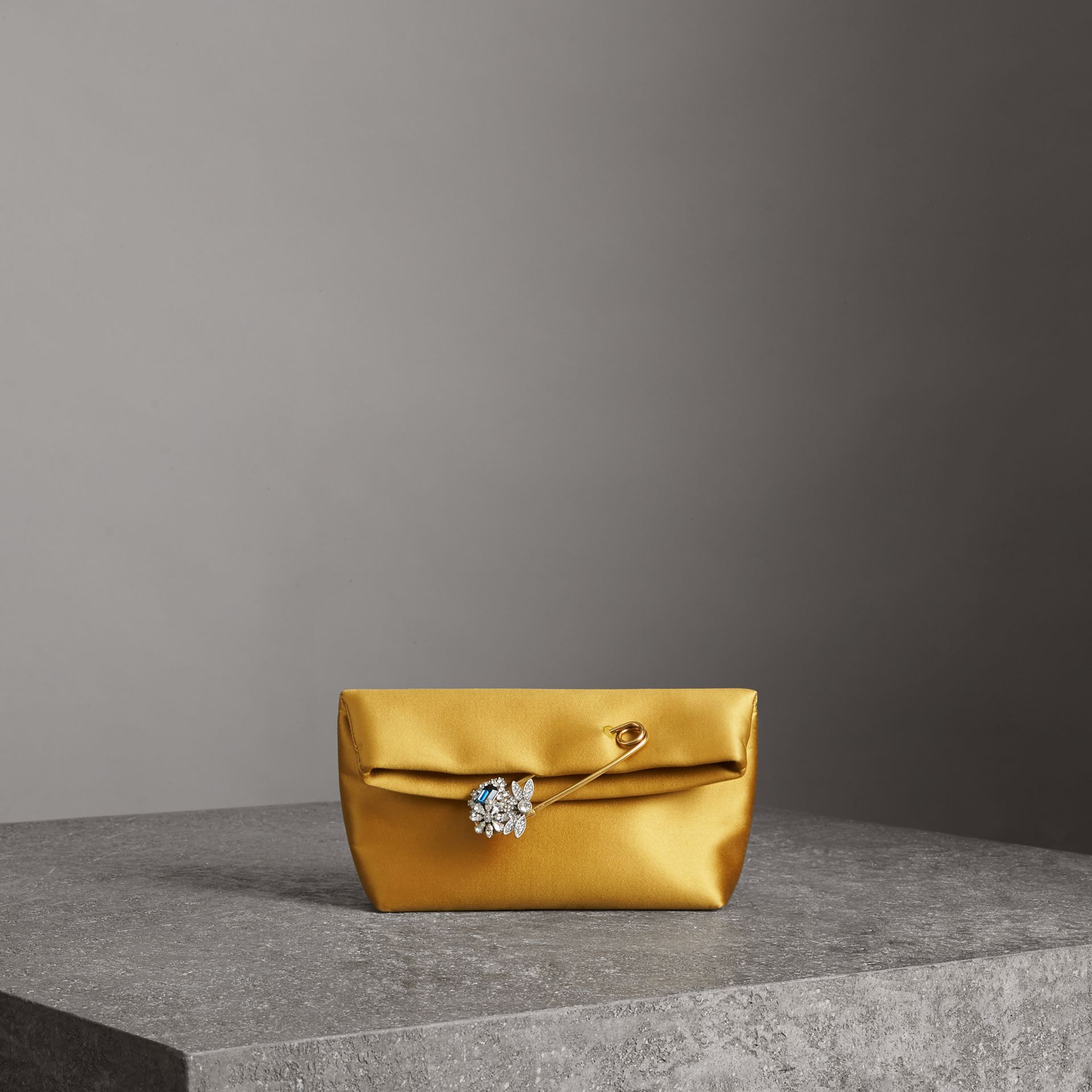 The Small Pin Clutch in Satin in Amber Yellow - Women | Burberry - gallery image 0