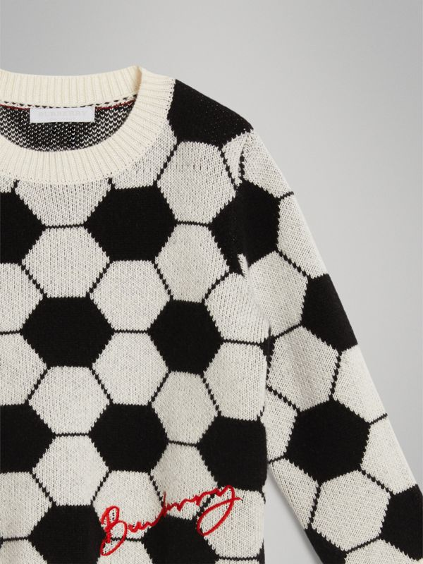 Football Intarsia Cashmere Wool Cotton Sweater in Black/white | Burberry Canada - cell image 3