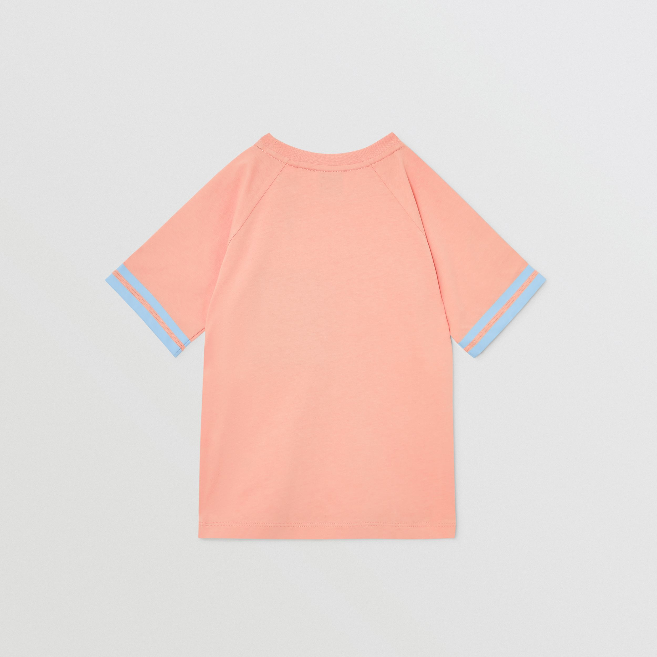 Tape Detail Location Print Cotton T-shirt in Peach | Burberry - 4