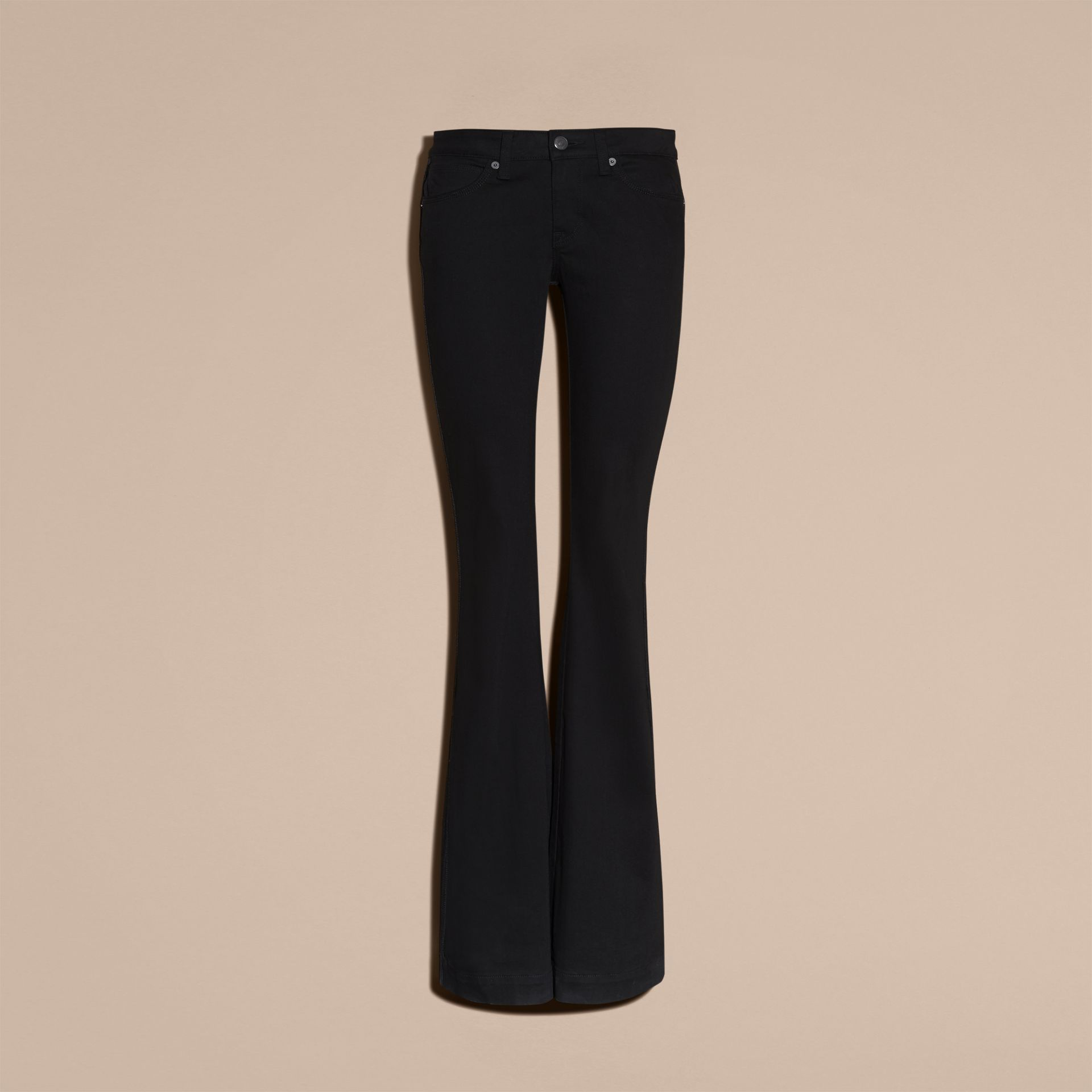 Black Flared Stretch Denim Jeans - gallery image 4