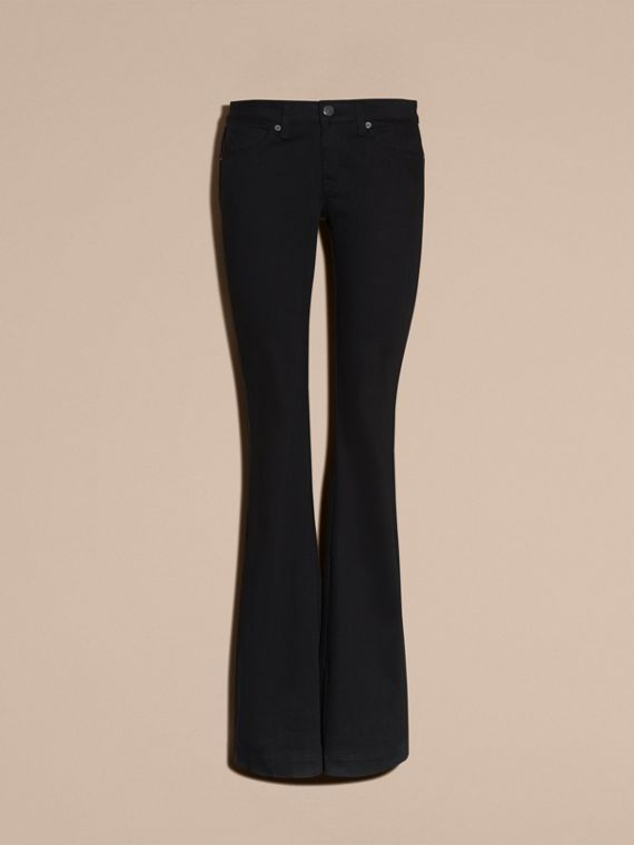 Black Flared Stretch Denim Jeans - cell image 3