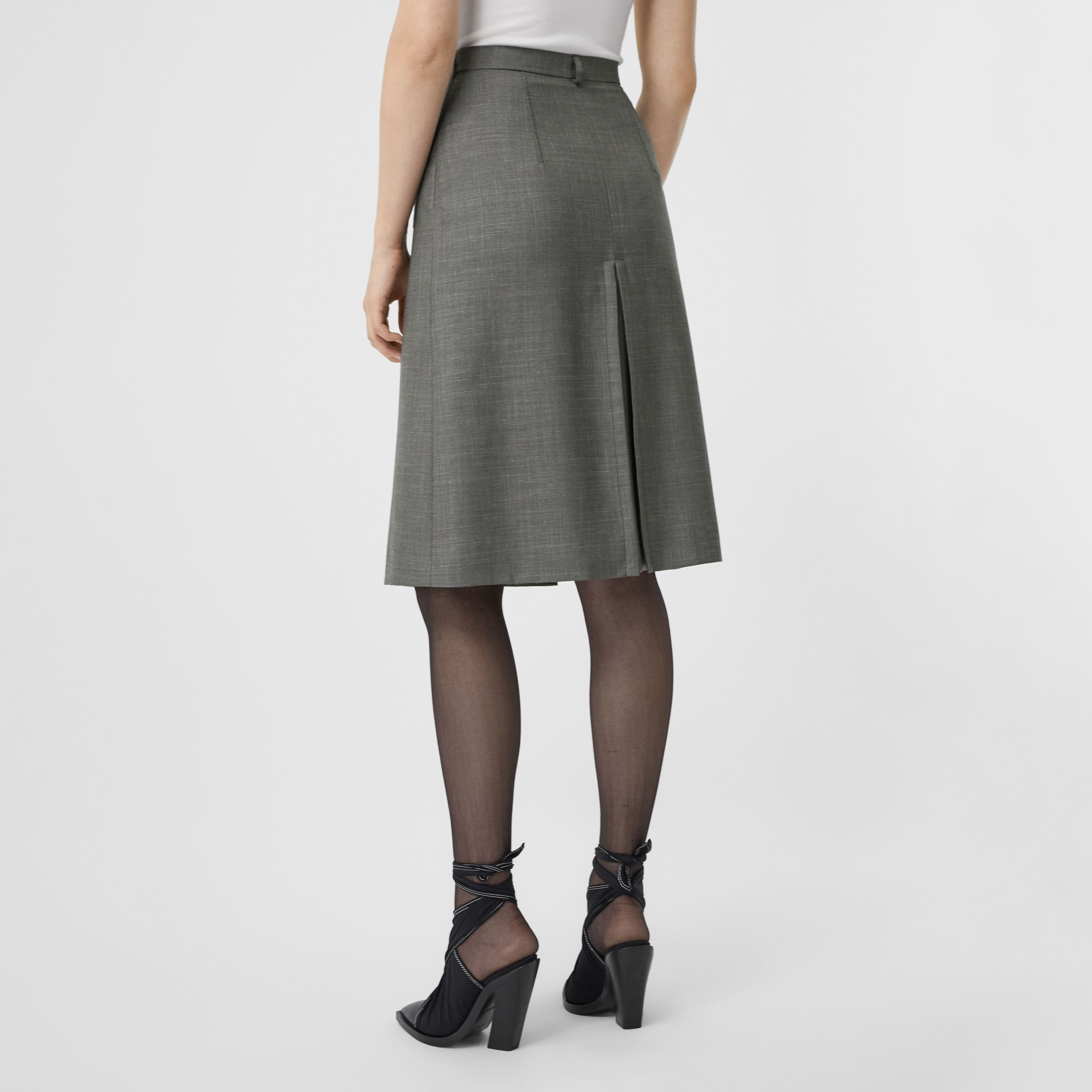 Box-pleat Detail Wool Silk Blend A-line Skirt in Charcoal Grey - Women | Burberry - 3