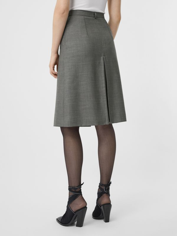 Box-pleat Detail Wool Silk Blend A-line Skirt in Charcoal Grey - Women | Burberry - cell image 2
