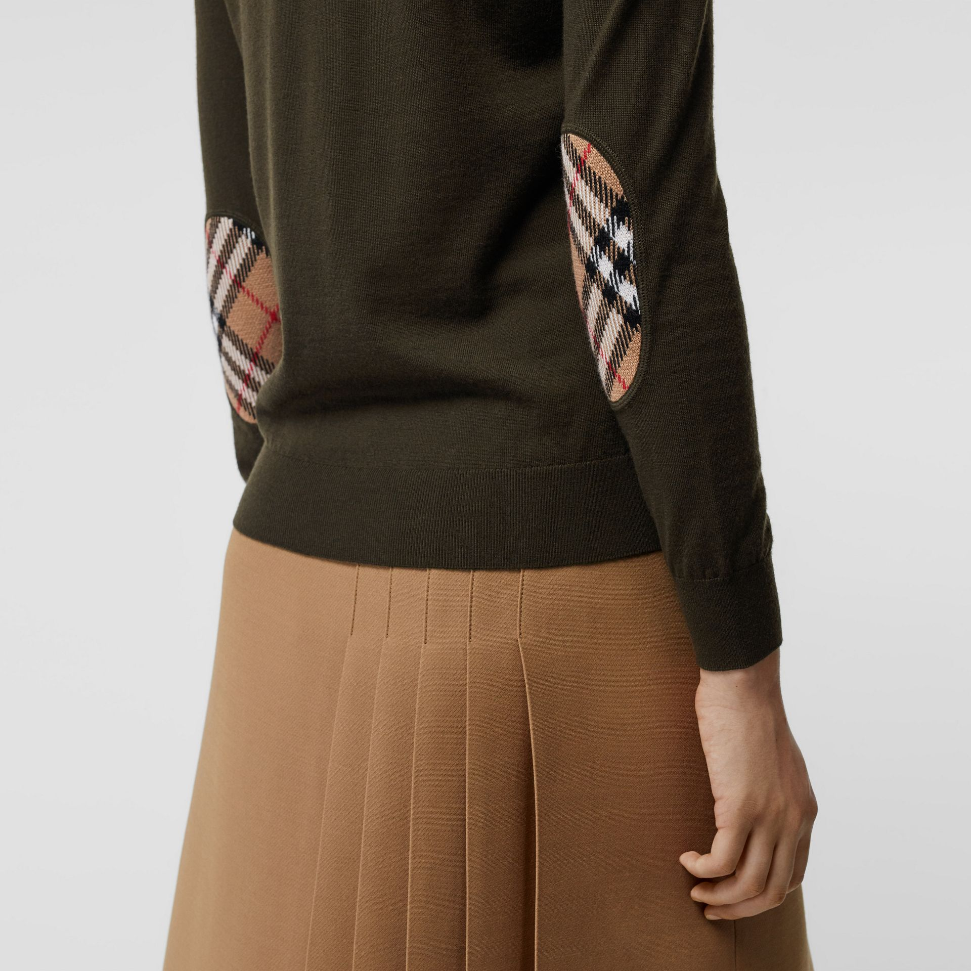 Vintage Check Detail Merino Wool Sweater in Dark Olive - Women | Burberry - gallery image 1
