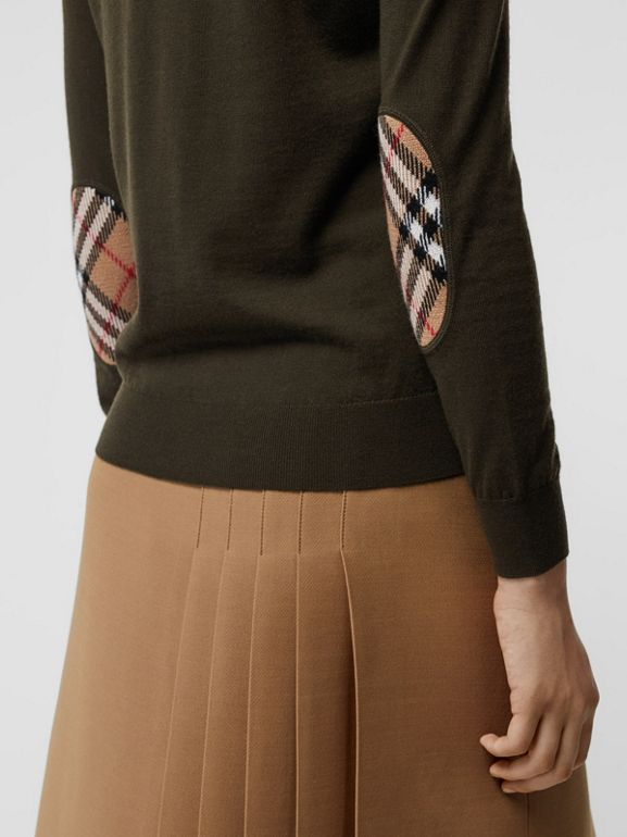 Vintage Check Detail Merino Wool Sweater in Dark Olive - Women | Burberry - cell image 1