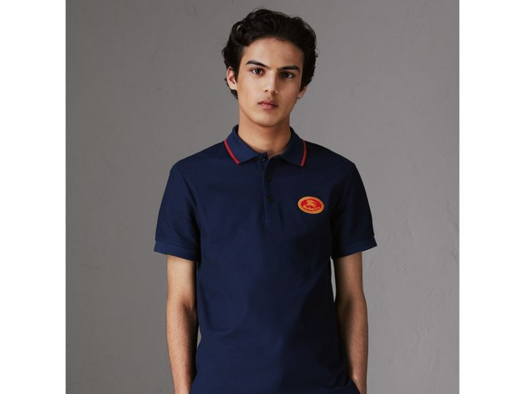 Archive Logo Cotton Piqué Polo Shirt in Navy - Men | Burberry - cell image 4