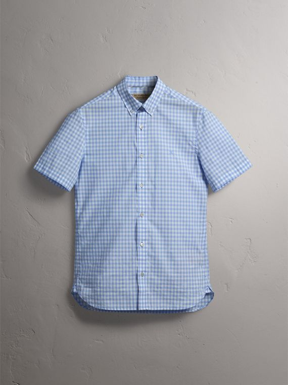 Short-sleeve Button-down Collar Cotton Gingham Shirt in Pale Blue - Men | Burberry United Kingdom - cell image 3