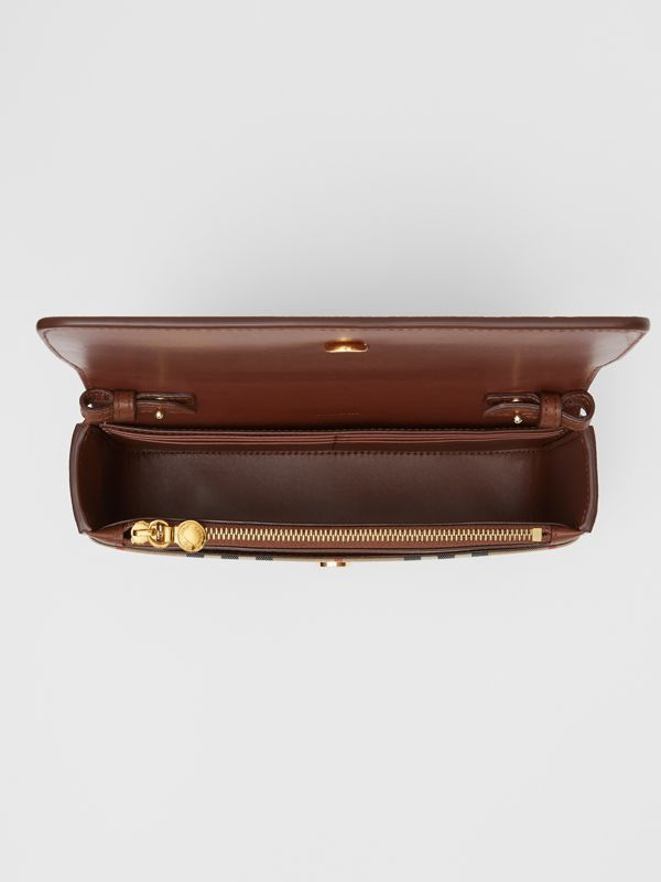 Small Leather and Vintage Check Crossbody Bag in Tan - Women | Burberry United Kingdom - cell image 3