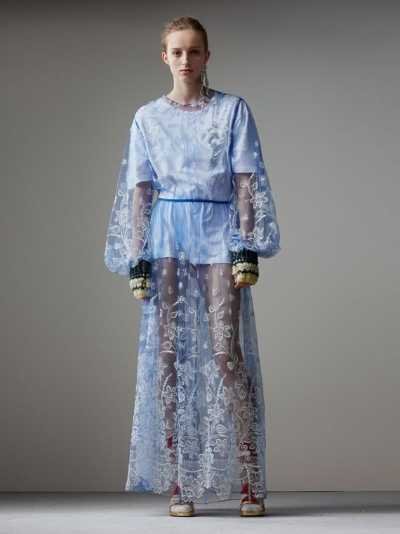 Puff-sleeve Embroidered Tulle Dress in Hydrangea Blue/white