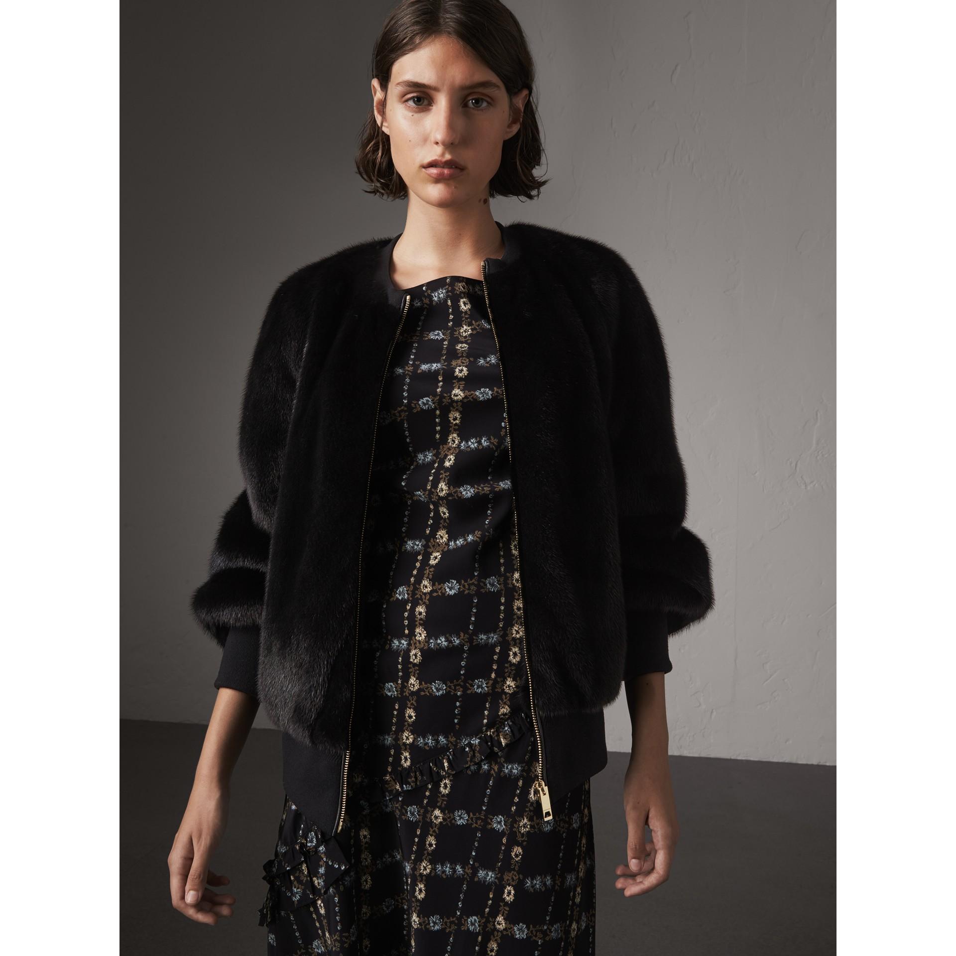 밍크 보머 재킷 (블랙) - 여성 | Burberry - 갤러리 이미지 1