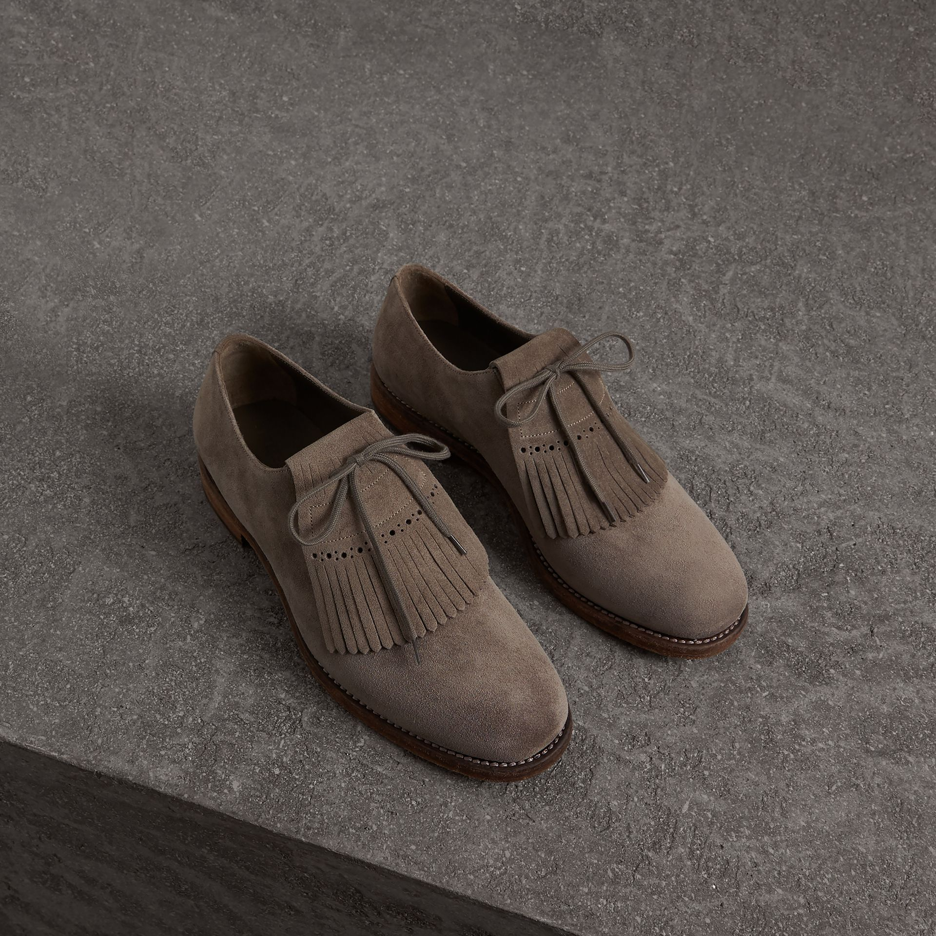 Lace-up Kiltie Fringe Suede Loafers in Steel Grey - Men | Burberry - gallery image 0