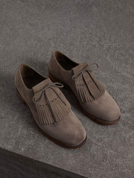 Lace-up Kiltie Fringe Suede Loafers in Steel Grey