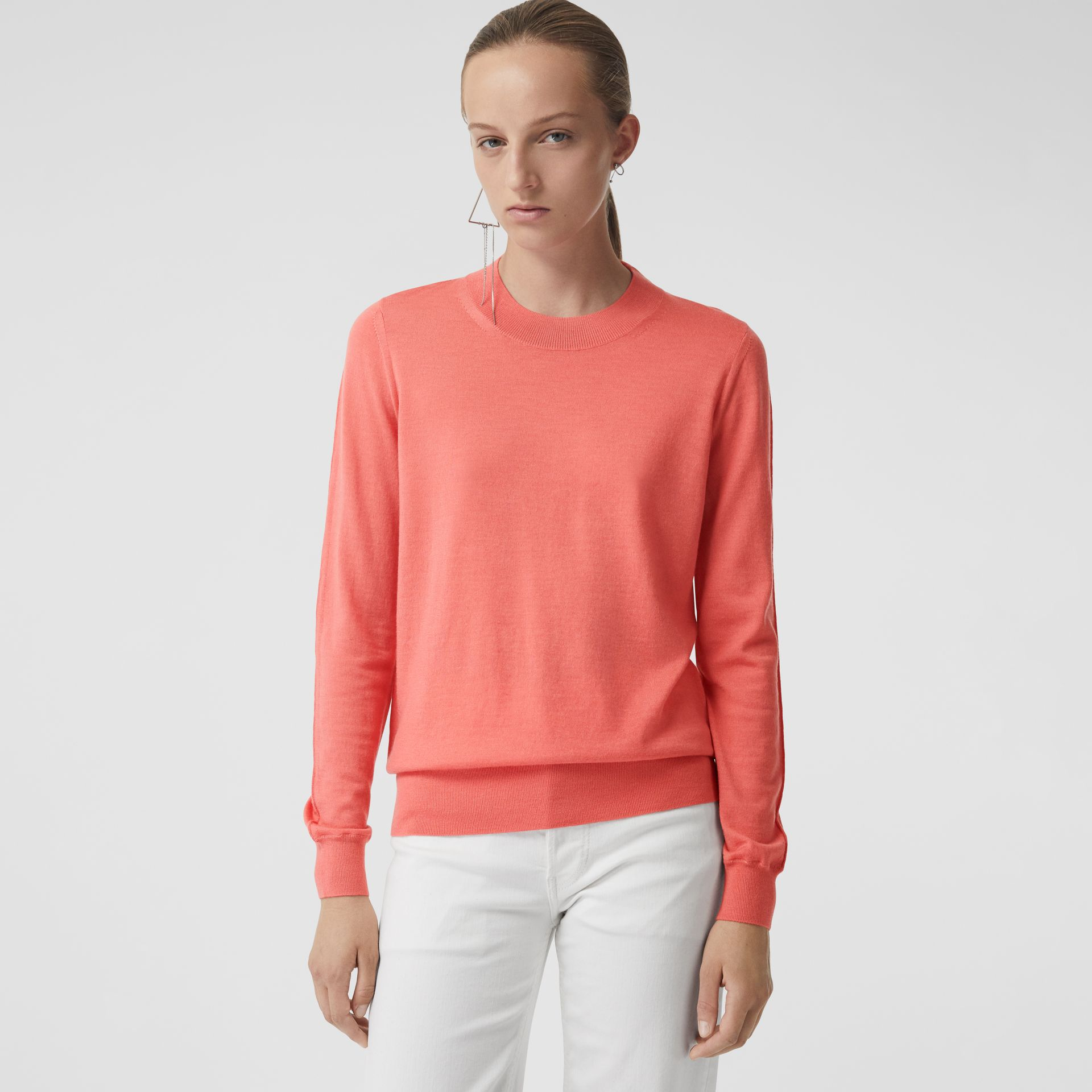 Merino Wool Crew Neck Sweater in Coral - Women | Burberry - gallery image 4