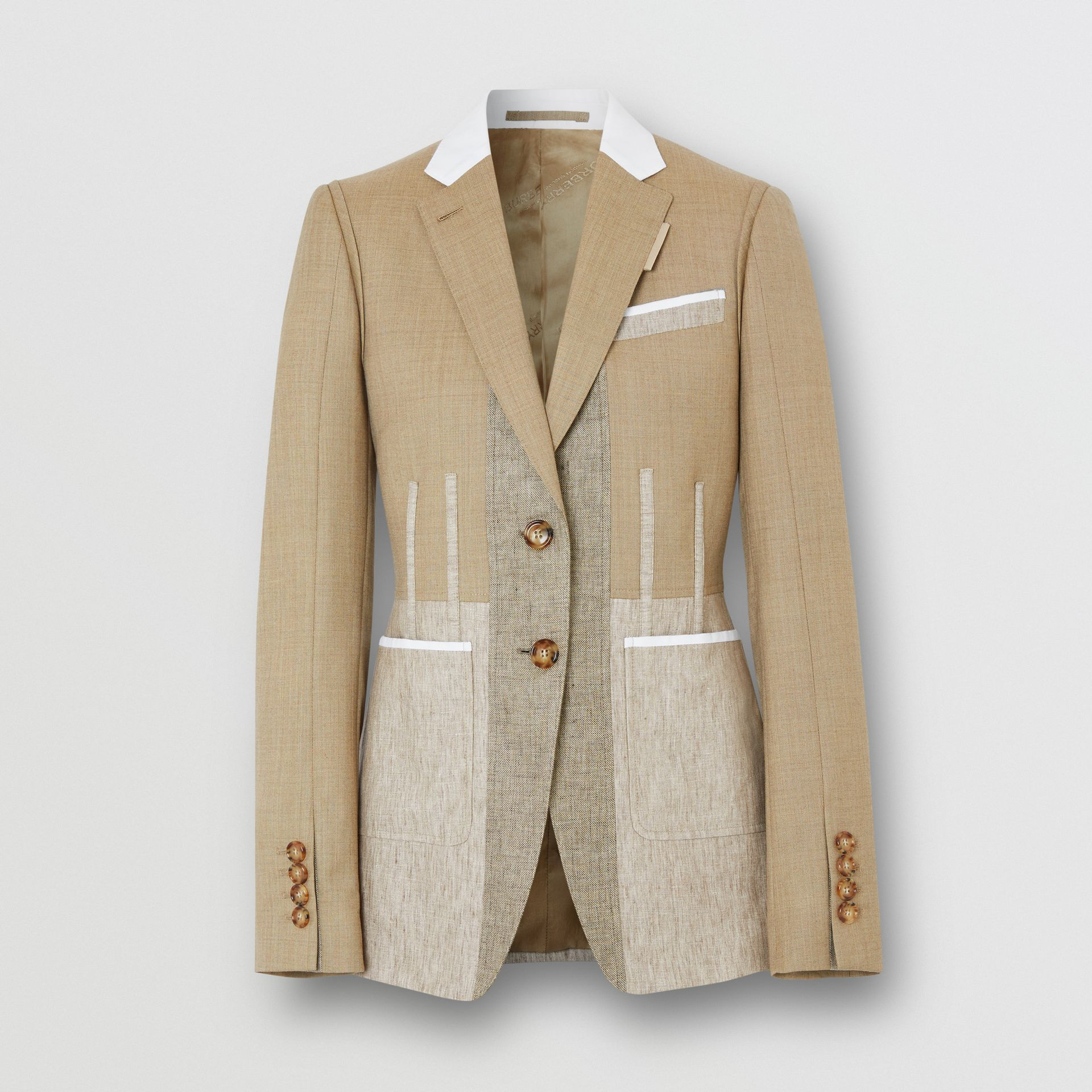 Contrast Seam Wool Cashmere and Linen Blazer in Pecan Melange - Women | Burberry - gallery image 3