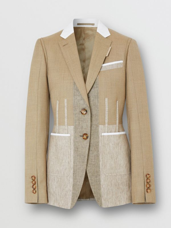 Contrast Seam Wool Cashmere and Linen Blazer in Pecan Melange - Women | Burberry - cell image 3