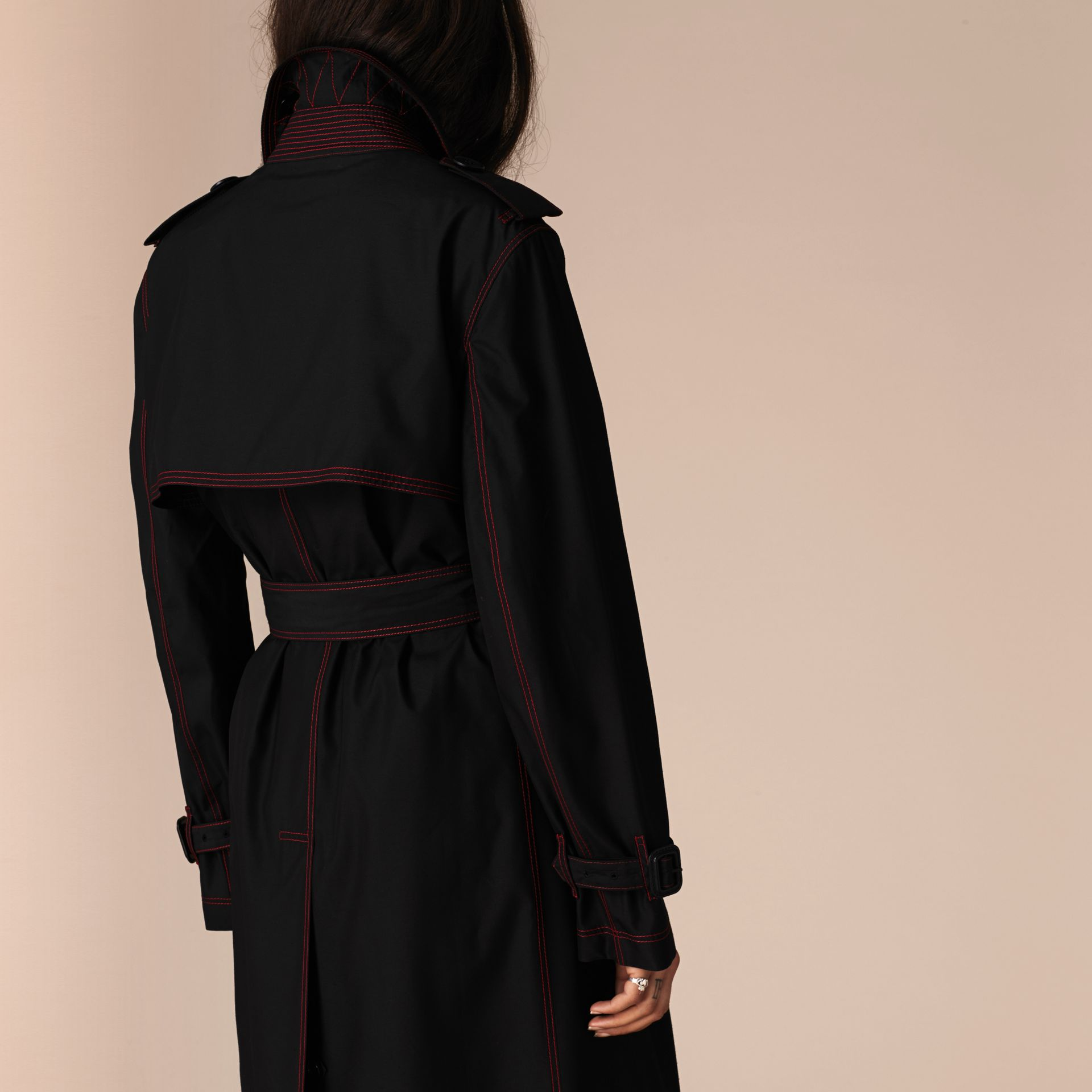 Black Lightweight Silk Wool Trench Coat - gallery image 3