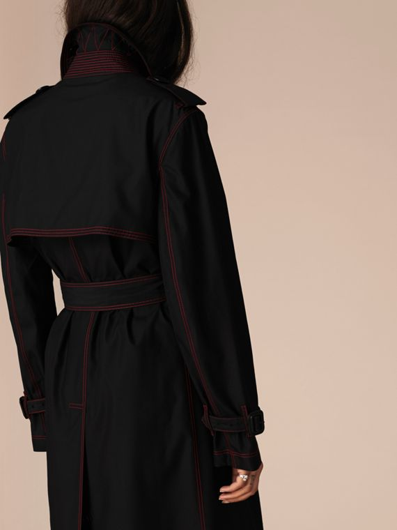 Black Lightweight Silk Wool Trench Coat - cell image 2