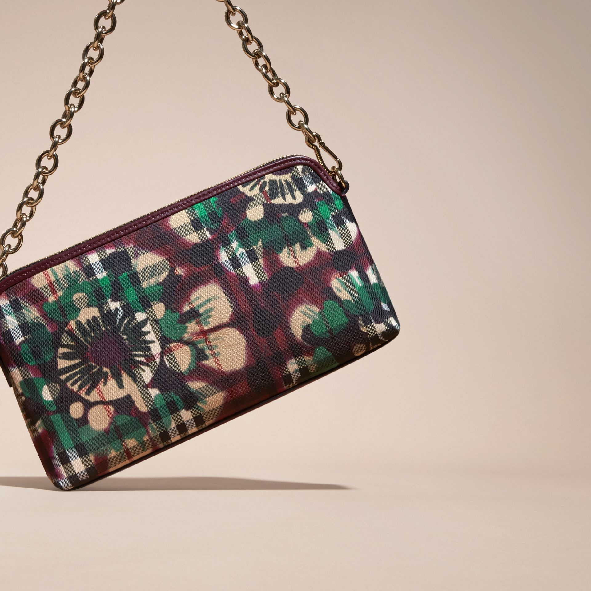 Deep claret Tie-dye Print Horseferry Check and Leather Clutch Bag Deep Claret - gallery image 7