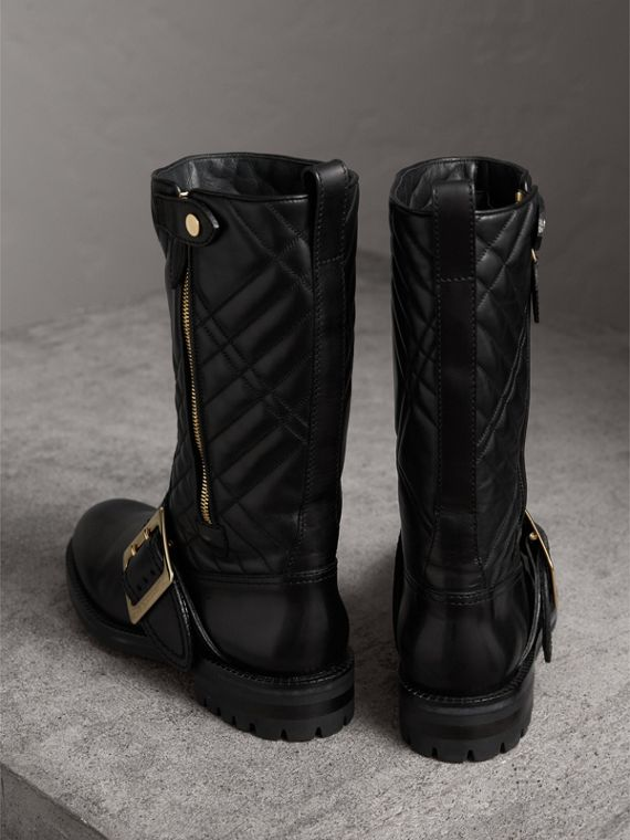 Buckle Detail Check Quilted Leather Boots in Black - Women | Burberry - cell image 3